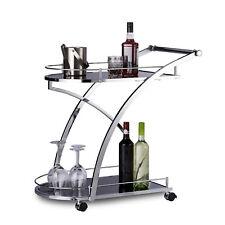 Relaxdays Servierwagen Glas BARON Design schwarz, rund, Metall Küchenwagen