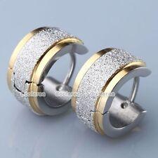 Hoop Huggie Ear Studs Earrings Jewelry Pair Mens Golden Stainless Steel Sparkle