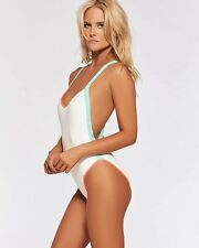 L*SPACE MANIAC ONE PIECE SWIMSUIT WHITE HIGH-CUT LEG X-BACK M / 8 NWT MTMCM16
