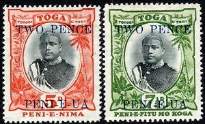 Tonga 1897 black/orange 2d on 5d black/green 2d on 7.5d wmk tortoises mint SG64