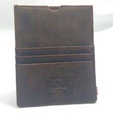 Herschel Supply Co. Eugene RFID Passport Holder Card Wallet Leather Nubuck Brown
