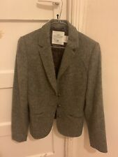 H & M Herringbone Womens Blazer Jacket Brown Tweed Wool Blend Patches