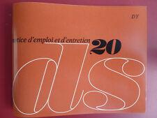 Notice d'emploi - Citroën DS 20 1969