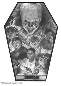 IT Pennywise Losers Club Coffin Pencil Drawing Print Signed Stephen King