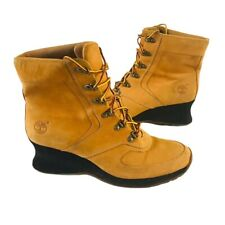 Timberland Womens  Ankle Booties Wedge Heels Wheat Lace Up Round Toe 8.5 M