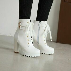 Women's Toe Ankle Boots Lace Up Platform High Heels Goth Motorcycle Shoes Trendy