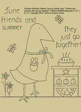 """Primitive Stitchery Pattern Crow June Friends and summer they just go together!"""""""