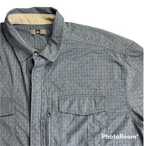 REI Men's Size Large Blue Hiking Button Down Long Sleeve Shirt Lightweight Check