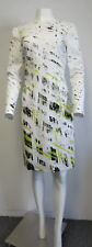 REED KRAKOFF Ivory dress w/ black & lime green abstract print & low v back SZ 8