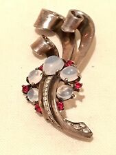 Vintage Trifari Alfred Phillipe Sterling Silver Pin Brooch Cabochon Moonstones