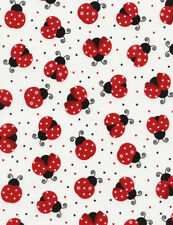 Lady Bird Lady Bug White Background Cotton Quilting Fabric 1/2 YARD