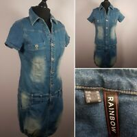 DENIM SHIRT Dress Sz 12 Blue Washed Out Casual Button Up Mini Utility Retro Look