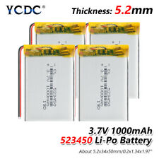 4Pcs Rechargeable 523450 3.7V 1000mAh Li-polymer Battery For GPS MP4 DVR Toys C