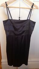 REVIEW  Black Satin Stretch Pleat Bust Spaghetti Strap Fitted Cocktail Dress 12