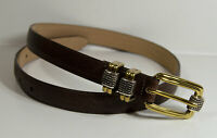 Brighton Classics Brown Embossed Leather Belt Womens M Medium 30 Gold Silver