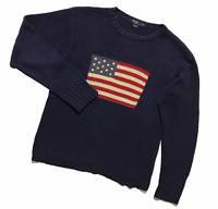 Men`s Polo Ralph Lauren Vintage Knit Sweater USA Flag Jumper Navy Size XL