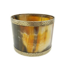 Chunky Vintage Retro Horn Bangle Bracelet with Brass Linings