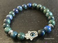 Hamsa Azurite Natural Gemstone Bracelet Yoga Meditation Third-Eye Chakra Raiki