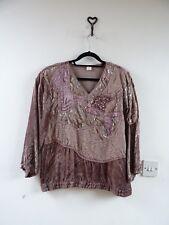 VINTAGE viscose gypsy/boho /lacy/festival/velvet/beaded 80s top/blouse/shirt S