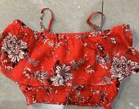 RRP £34.99  River island Red Floral Print Bardot Crop Top&Skirt           (U17)