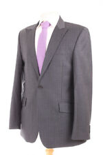 NEXT SUPER 100'S GREY PINSTRIPE PEAKED LAPEL MEN'S SUIT 40R DRY-CLEANED