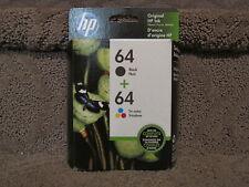 HP N9J90AN Black N9J89AN & Color X4D92AN Ink Cartridge Genuine OEM # 64