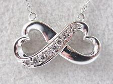"18K Diamond Necklace Double Heart Infinity G/Vs 18"" Link Chain Fine Jewelry"
