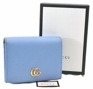 Auth GUCCI GG Marmont Continental Wallet Leather 456126 Light Blue Box E1121
