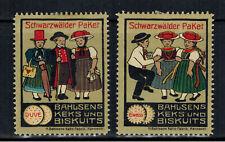 2x Vignette Reklamemarke Schwarzwälder Paket Bahlsen Keksfabrik Hannover
