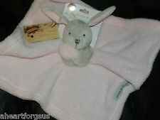 SECURITY BLANKET BEYOND BUNNY RABBIT PINK GRAY HEAD NEW FLEECE SOFT BLANKET GIRL