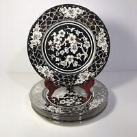 "Vtg Johnson Bros Pateek Silver Mirror Finish 10.5"" Plates (6) Cherry Blossoms"