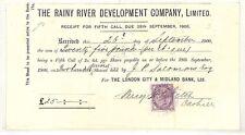 QQ125 1900 lluvioso Río empresa Londres Ciudad y Midland recibo bancario {samwells}