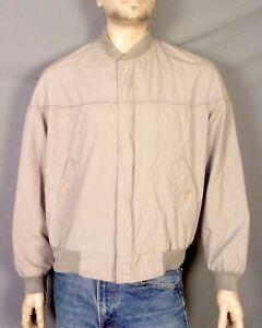 vtg 80s Midwest Traders La Paz Style Bomber Jacket Full Zip Gray Poplin sz L
