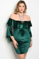 Women's Plus Size Green Velvet Cold Shoulder Bodycon Bell Sleeve Dress 3X NEW