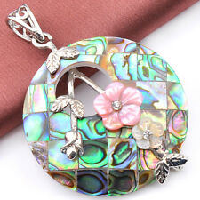 Flower Style Natural Handmade Abalone Shell Carved Shell Silver Necklace Pendant