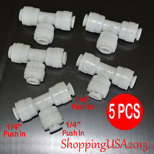 5 Pcs 1/4-1/4-1/4 Quick Connect Tee Union Connetor Water Filter Fitting Push In