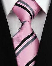 AS0203 Pink Black Stripe Classic Elegant Woven 100%Silk Necktie Man's Tie