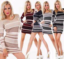 SeXy Damen Strick Long Pullover Pulli Mini Kleid gestreift Glitzer 34 36 38