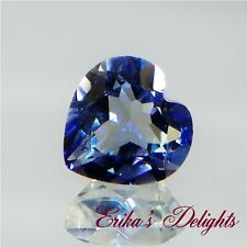 10mm Heart Natural Dark Blue Quartz VVS  3.5cts