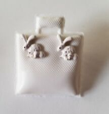 White Glitter Bunny Earrings Small Pierced Bunnies Easter Holiday Silver-tone