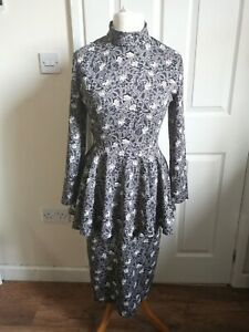 Vintage 80s Size 10 Black White Gothic Glam Rock Rose Pattern Peplum Midi Dress
