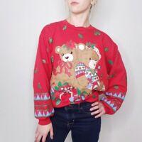 Vintage Womens Medium Ugly Christmas Teddy Bear Pullover Sweater