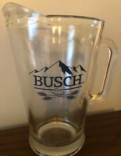 "Busch Beer - Clear Glass Large Pitcher With Logo - 9"" Tall Euc"