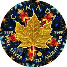 2016 1 Oz Silver Maple Leaf ORANGE KALEIDOSCOPE Coin With 24k Gold Gilded.