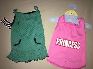 NEW SIZE SMALL GIRL PUPPY OUTFITS MINT GREEN BLACK POLKA DOTS PINK PRINCESS