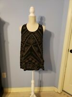 Lucky Brand Womens Black Sleeveless Blouse Size Large