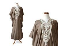 TRUE VINTAGE 1960s 60s 1970s 70s Hippie Bohemian Brown Cotton Caftan Dress Small