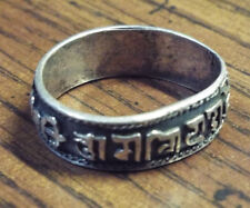 Vintage Silver Ring with Buddhist (?) Unknown Text - size 12.5 - 13