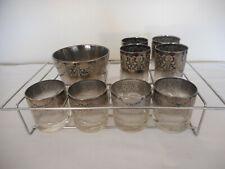 Mid Century Modern MCM Vitreon Queen's Lusterware Set glasses ice bucket Carrier