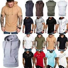 Men Hoodie Muscle T-Shirt Short Sleeve Hooded Sleeveless Sweatshirt Vest Top